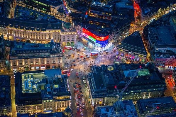 Night aerial view of Piccadilly Circus, London. 2514