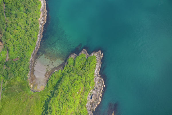 Aerial view of coastline at Jura, Inner Hebrides, Scotland. 9552