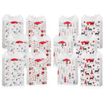 White & Red Christmas Gift Bags With Tissue Paper (12 Pack)