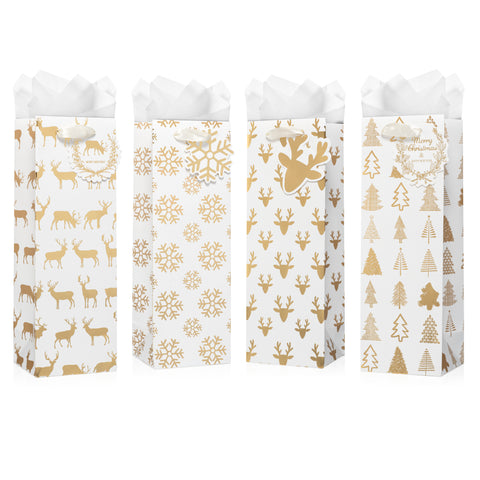 White & Gold Christmas Wine Gift Bags With Tissue Paper (12 Pack)