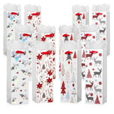 White & Red Christmas Wine Gift Bags With Tissue Paper (12 Pack)