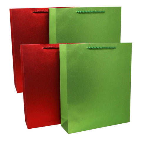 Red & Green Sparkle Gift Bags (4 Pack)