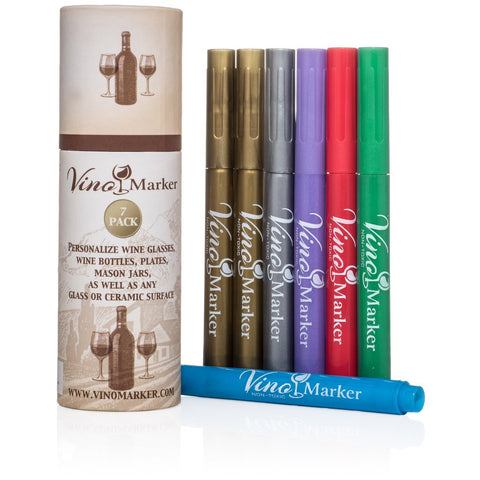 Vino Marker Metallic Wine Glass Pens (7 Pack)