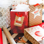 Red & Gold Holiday Gift Bags With Tissue Paper (12 Pack)