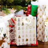White & Gold Christmas Gift Bags With Tissue Paper (12 Pack)
