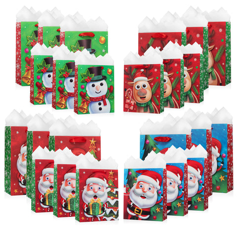 Christmas Characters Gift Bags With Tissue Paper (24 Pack)