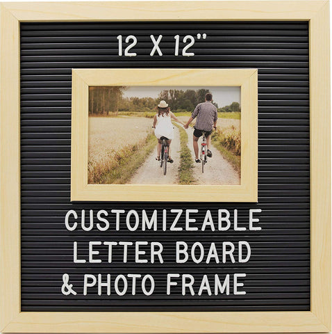 Customizable Letterboard Photo Frame (Wood/Black)