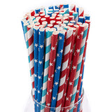 Red White Blue Paper Party Straws (100 Pack)