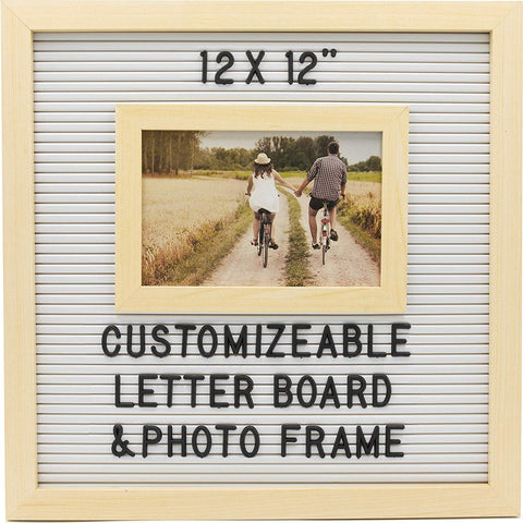 Customizable Letterboard Photo Frame (Wood/White)