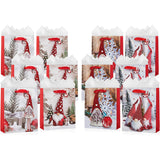 Christmas Tomte Gnomes Gift Bags With Tissue Paper (12 Pack)