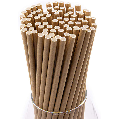 Natural Brown Party Straws (100 Pack)