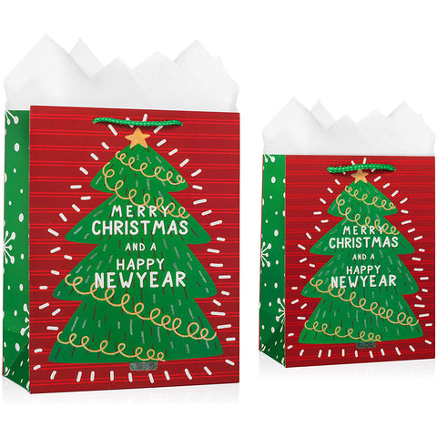 Christmas Tree Gift Bags With Tissue Paper (12 Pack)