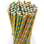 Pastel & Gold Stripes Paper Straws (100 Pack)