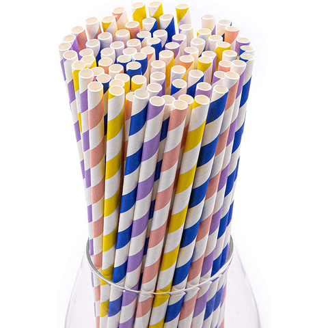 Pastel Stripes Paper Straws (100 Pack)