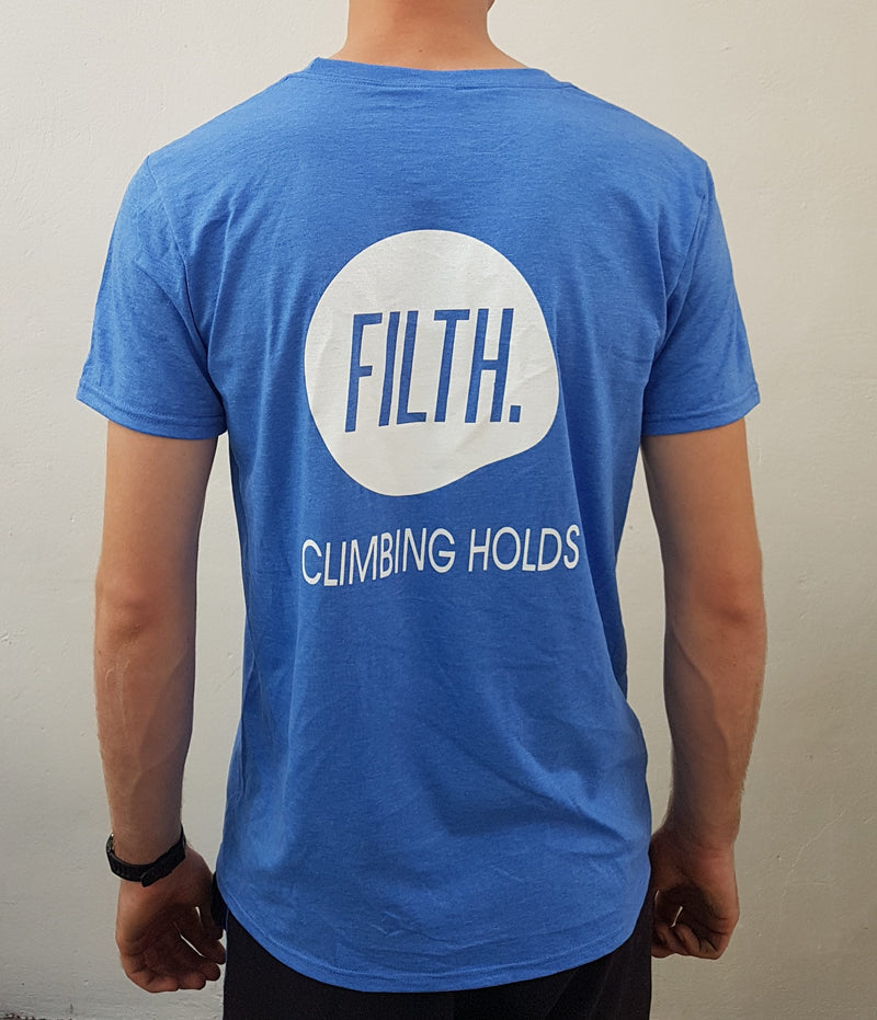 The back of a blue FILTH T-shirt Blue -