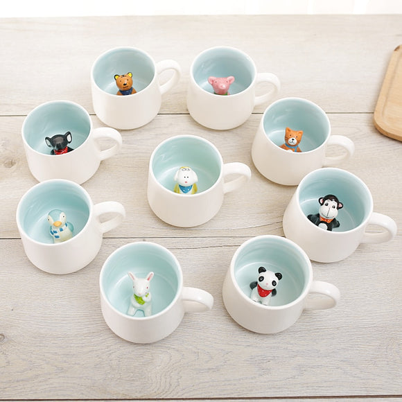 Cartoon Animal Ceramic Novelty Mugs - Set 2