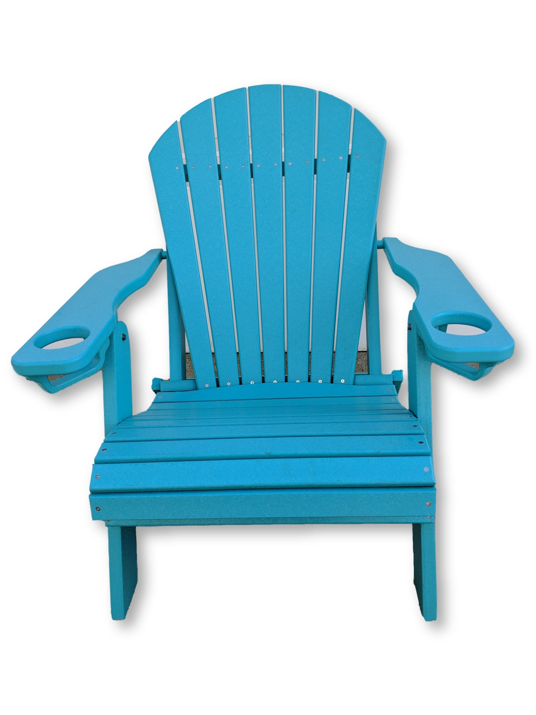 Aruba Blue Folding Adirondack Chair with Cup Holders