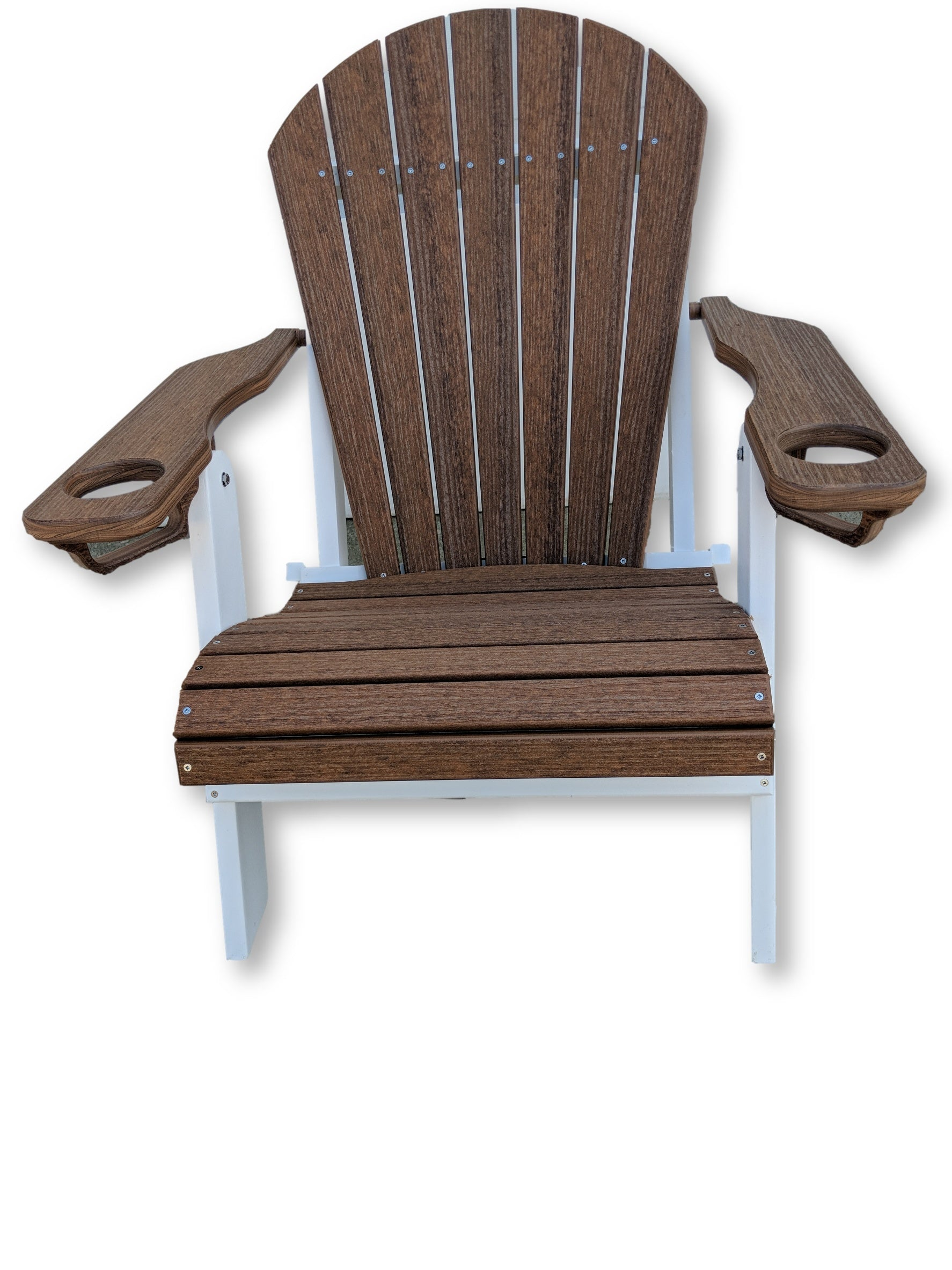 Antique Mahogany White Folding Adirondack Chair With Cup Holders
