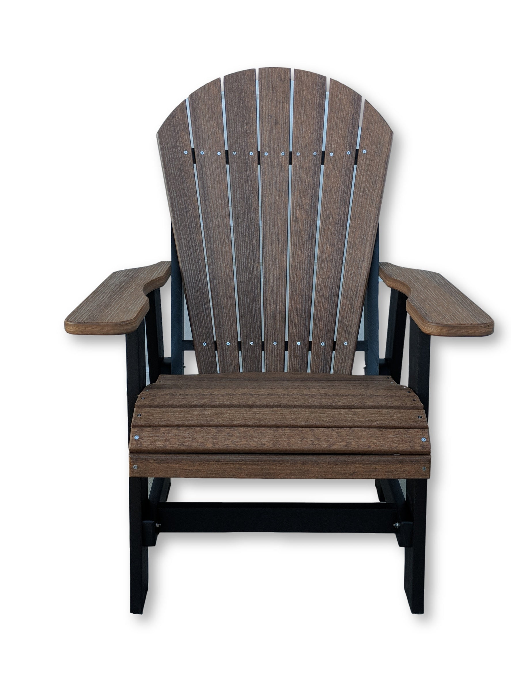 Antique Mahogany Black Folding Adirondack Chair (No Cup Holders)