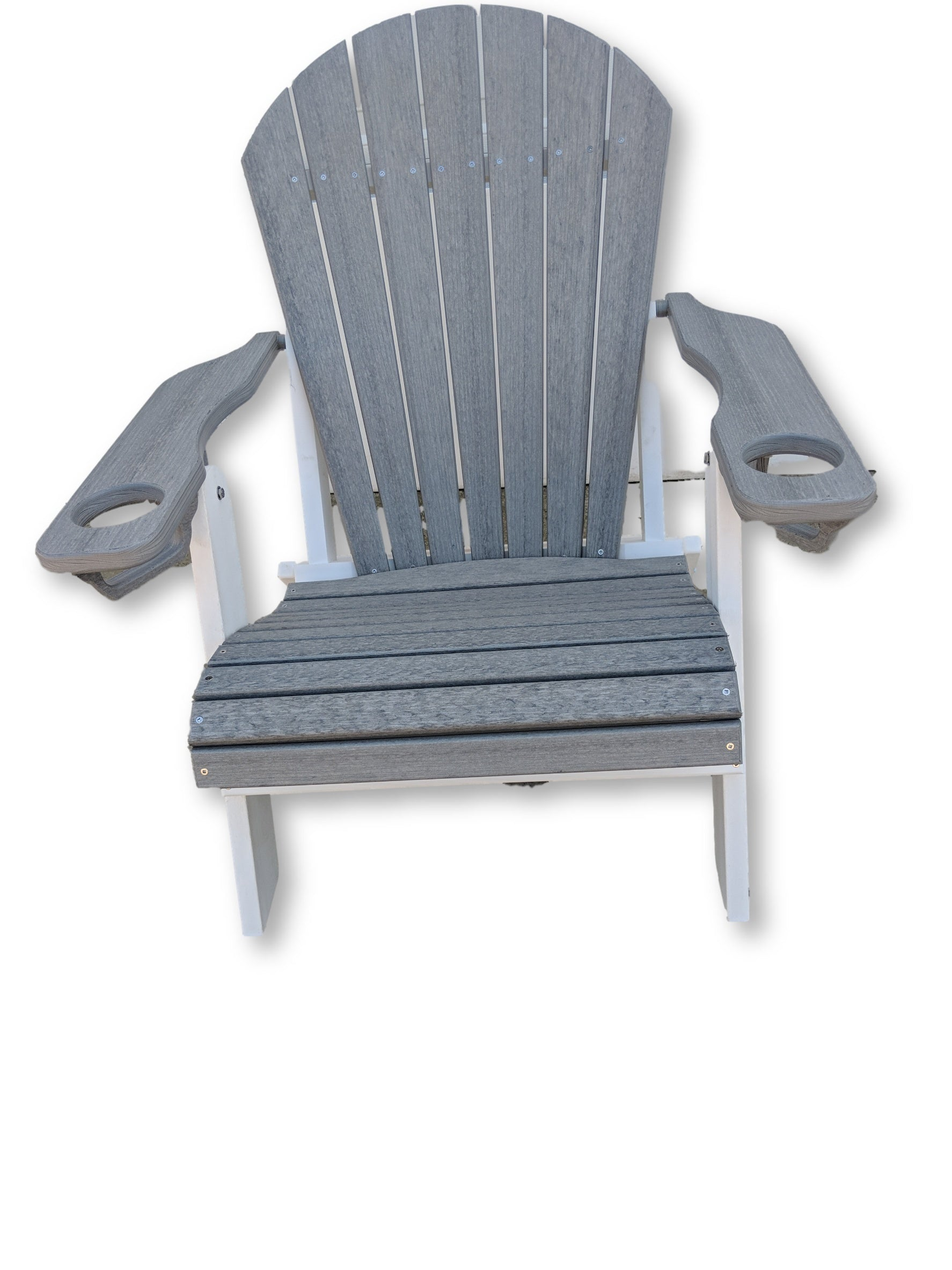 Driftwood White Folding Adirondack Chair with Cup Holders