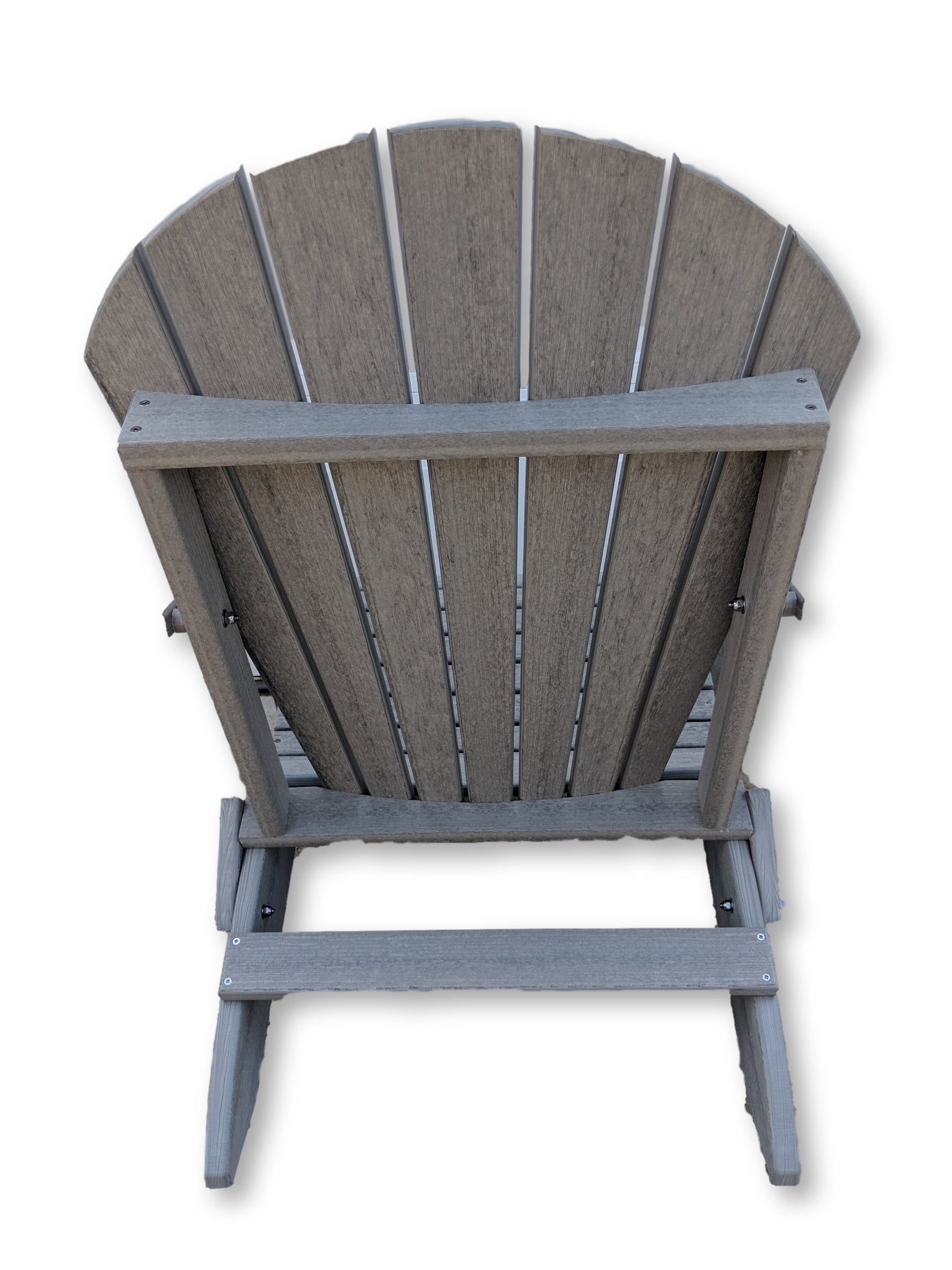 Driftwood Gray Folding Adirondack Chair with Cup Holders