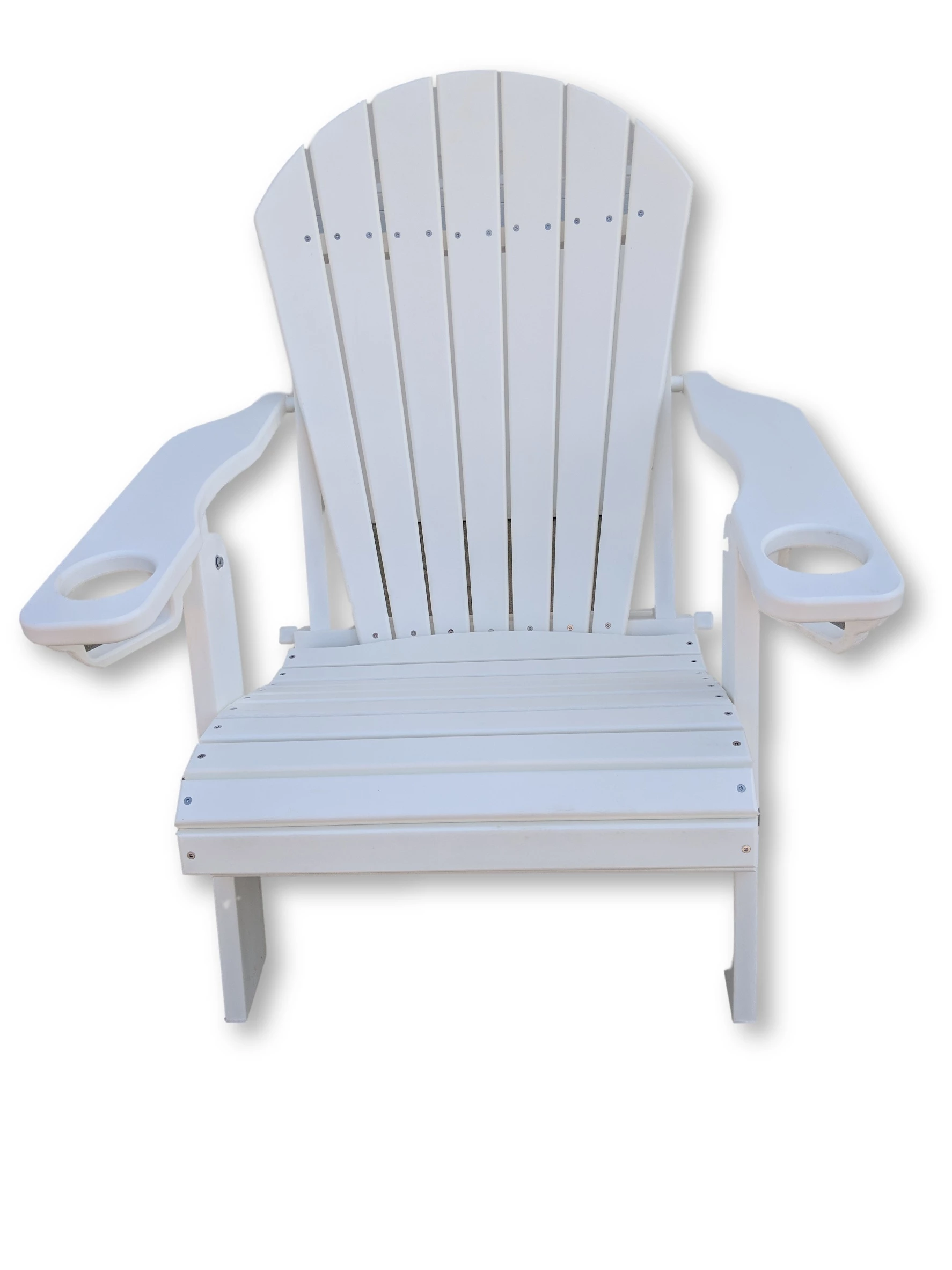 White Folding Adirondack Chair with  Cup Holders