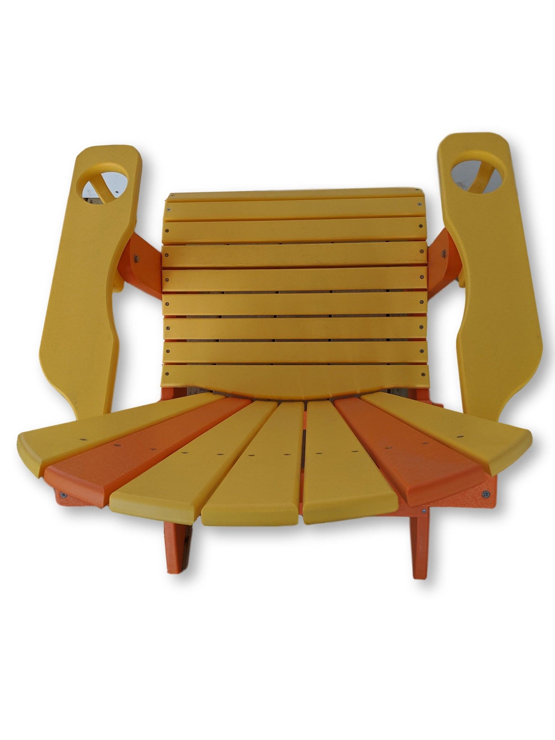 Yellow Orange Folding Adirondack Chair with Cup Holders