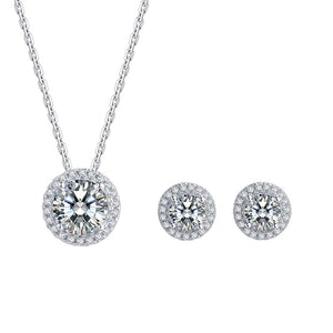 Sterling Silver Moissanite Necklace and Earring Set