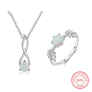 Sterling Silver Infinity Loop Opal Set