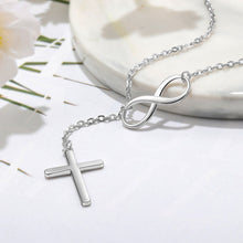 Load image into Gallery viewer, Sterling Silver Cross & Infinity  Pendant Necklace