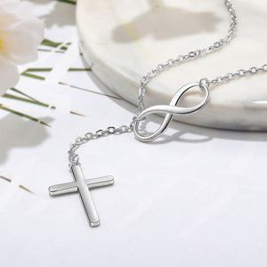 Sterling Silver Cross & Infinity  Pendant Necklace
