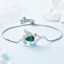 Load image into Gallery viewer, Sterling Silver Crystal Hummingbird Bracelet