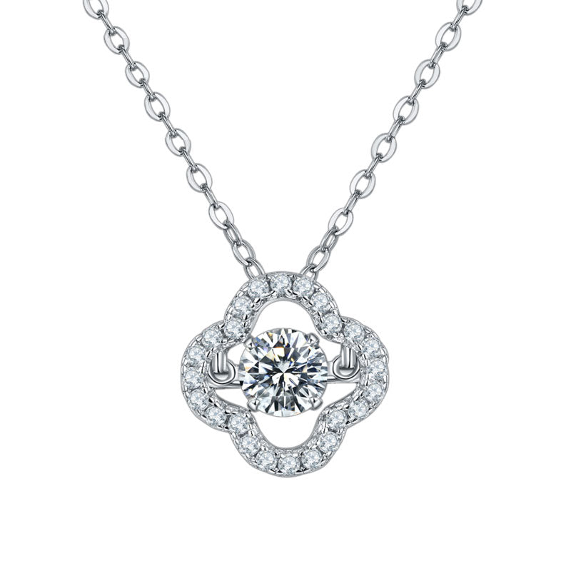 Sterling Silver Clover Moissanite Pendant Necklace
