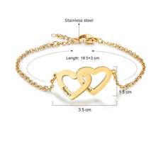 Load image into Gallery viewer, Personalized Double Heart Bracelet
