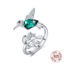 Load image into Gallery viewer, Sterling Silver Crystal Hummingbird Ring