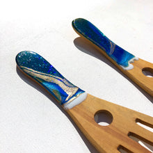 Load image into Gallery viewer, 'Okiwi Bay' - Salad Servers - Unique, handmade artworks by Leda Daniel Art Studio