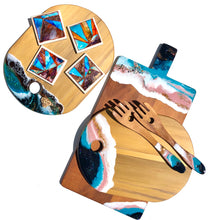 Load image into Gallery viewer, 'Onetangi Beach' - Cheeseboard - Unique, handmade artworks by Leda Daniel Art Studio