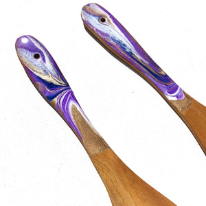 'Taranaki' - Salad Servers - Unique, handmade artworks by Leda Daniel Art Studio