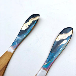 'Oneroa Bay' - Serving Spoons - Unique, handmade artworks by Leda Daniel Art Studio