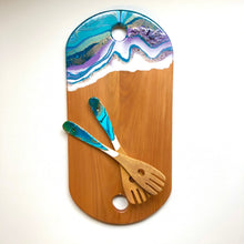 Load image into Gallery viewer, 'Howick Beach' - Salad Servers - Unique, handmade artworks by Leda Daniel Art Studio