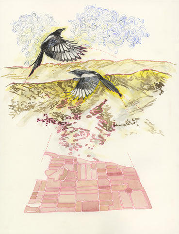The Magpies Pink Cemetery Map by Claire Taylor