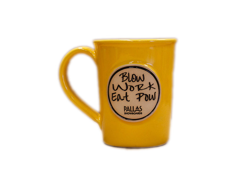 Pallas Snowboards stoneware mug in sunshine yellow