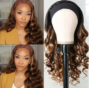 Golden brown wavy headband wig