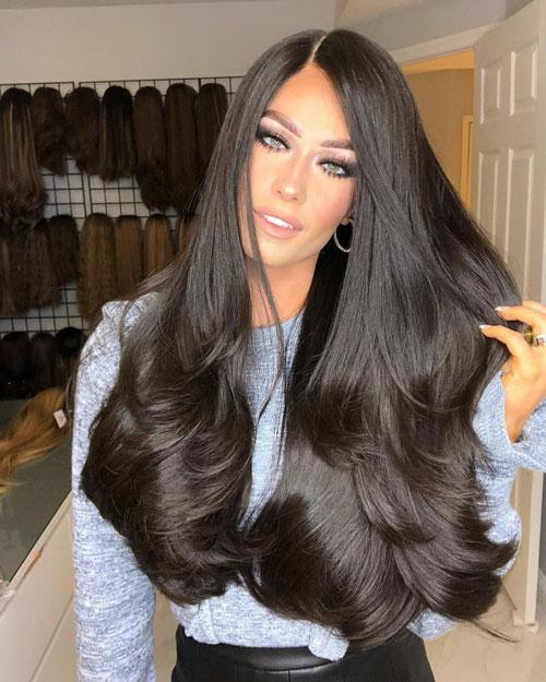 "24"" three-quarter black straight hair lace wig"
