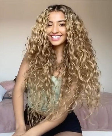 2020 Summer new brown gradient long curly hair