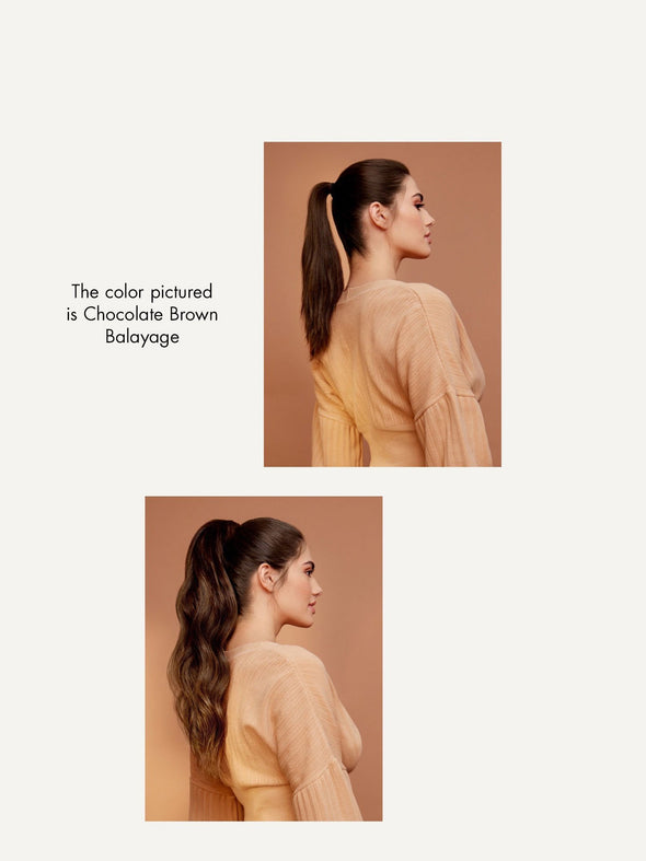 "20"" Dark Ash Brown Balayage Ponytail - 20"" (120g)"