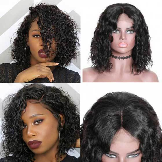 Short Wave Bob Human Hair Wig For Black Female | Lace Frontal Cap