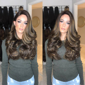 Silky full beauty brown curly wig