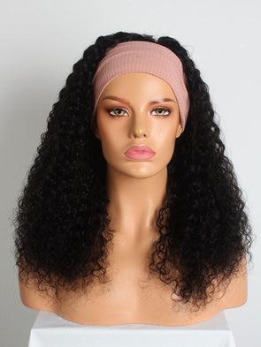 NATURAL BLACK CURLY MACHINE MADE HEADBAND WIG
