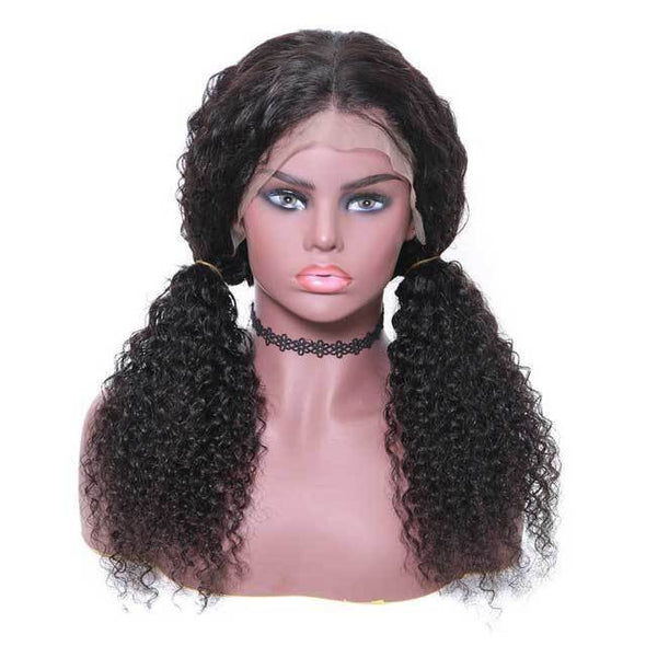 Long Jerry Curly Human Hair Wigs | Lace Front Cap Free Part Natural Hairline